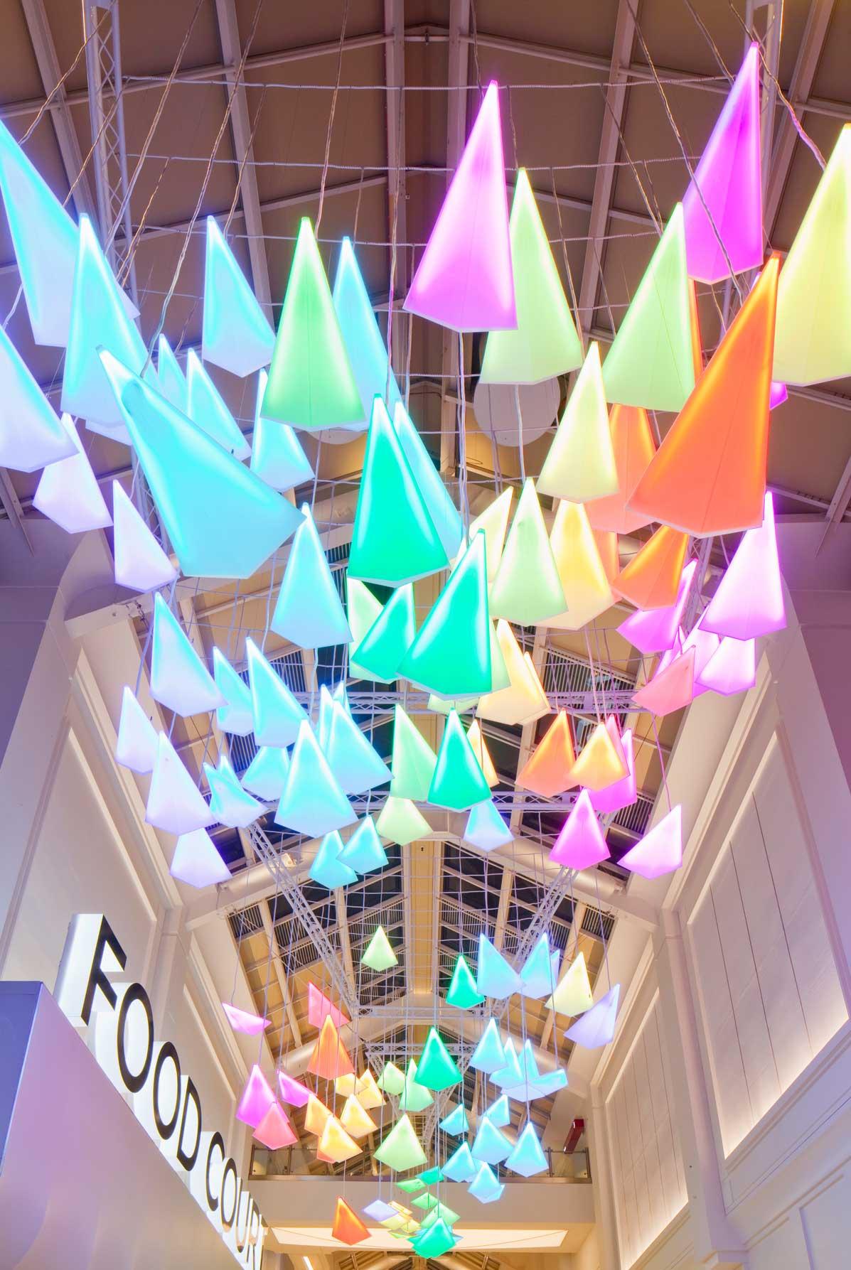 Light Installation LED Colour Changing Movement Flock Birds Showpiece Nulty Bespoke