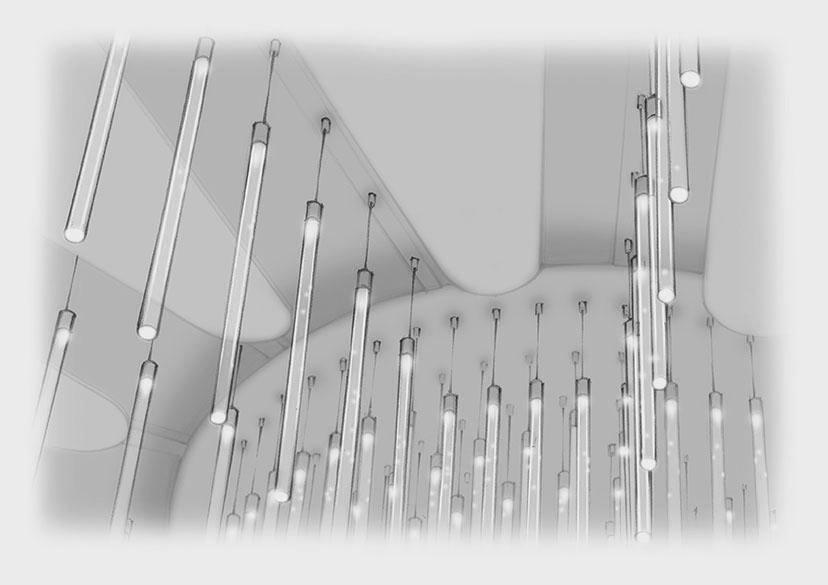Sketch Chandelier Detail Unfurling Acrylic Rods Nulty Bespoke