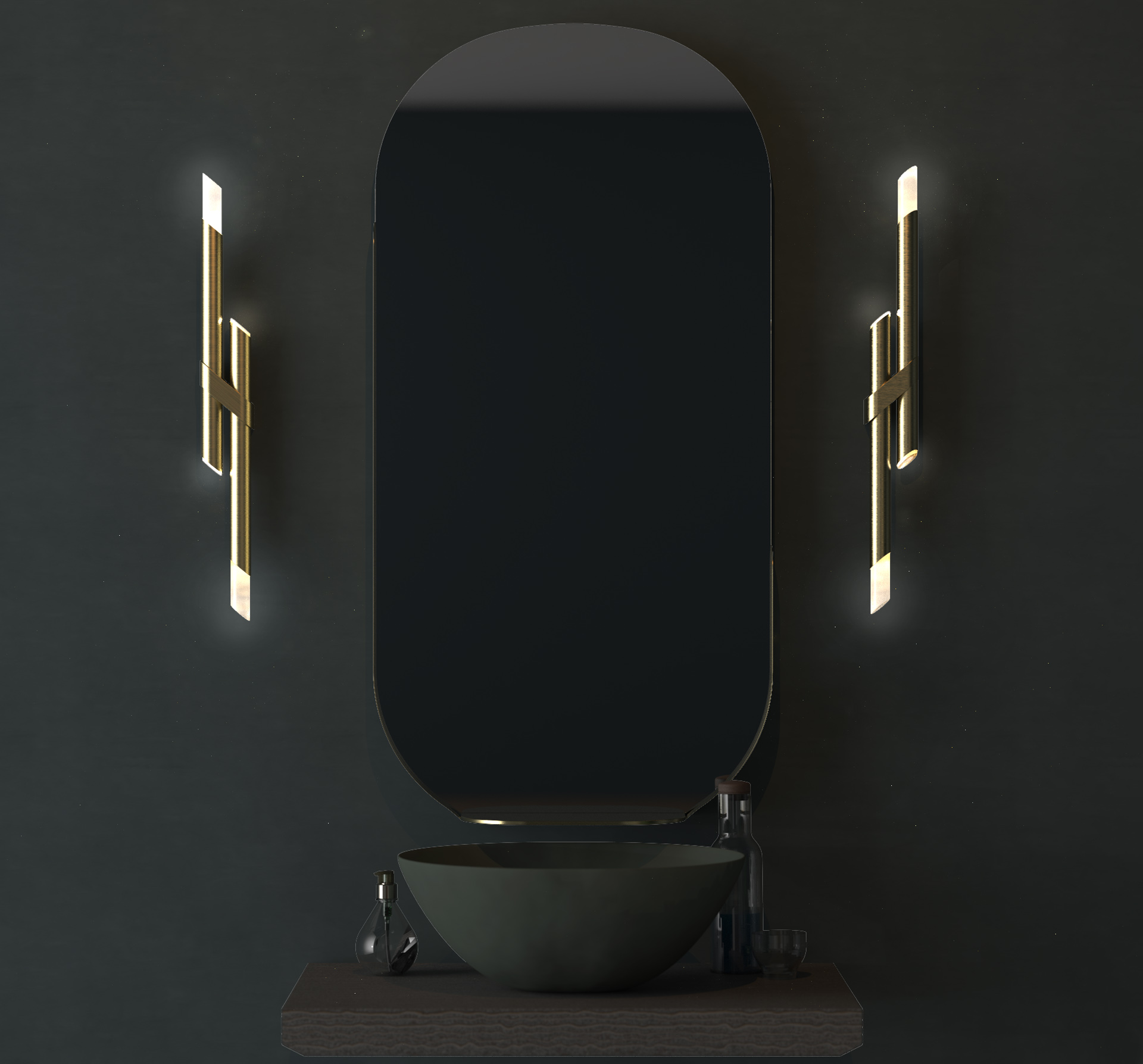 Contemporary Bathroom Wall Lights Brass Rods Illuminated Tips Mirror Dark Moody Interior Palette Designers Nulty Bespoke