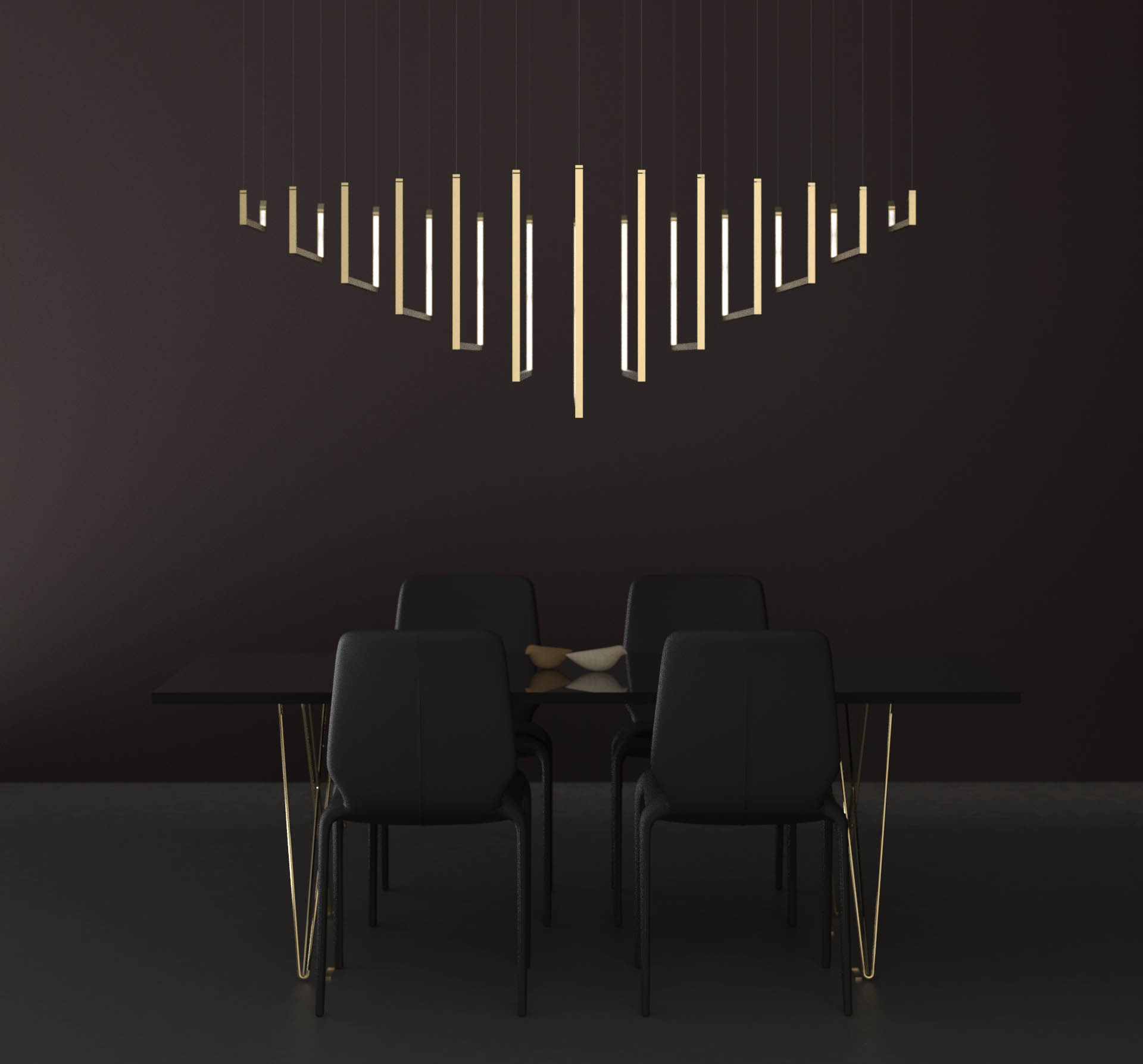 Contemporary Chandelier Line Structure Sleek Symmetrical Design Brass Finish Luxury Minimal Dining Room Interior Nulty Bespoke