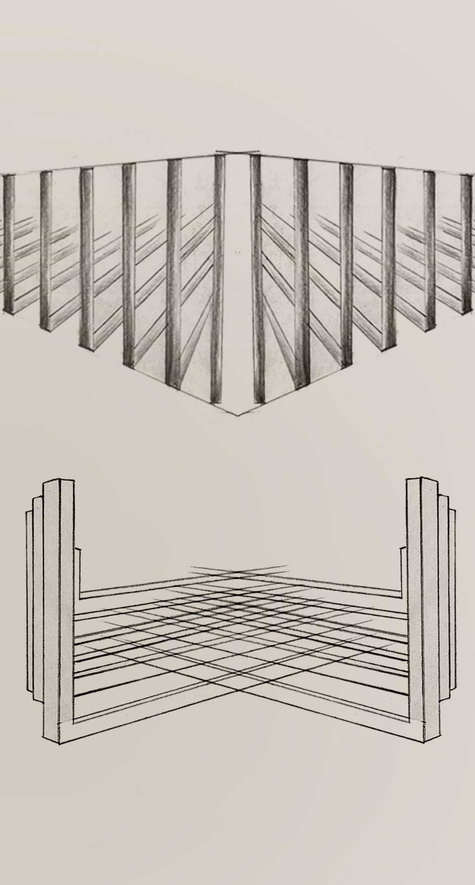 Contemporary Chandelier 3D Diagonal Symmetrical Composition Concept Sketch Luxury Lighting Nulty Bespoke