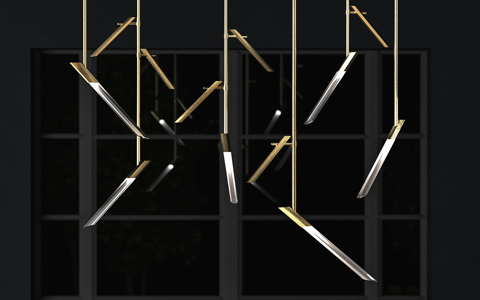 Contemporary Sculptural Lighting Feature Brass Finished Framework Angled Hexagonal Components Brass Finish London Nulty Bespoke