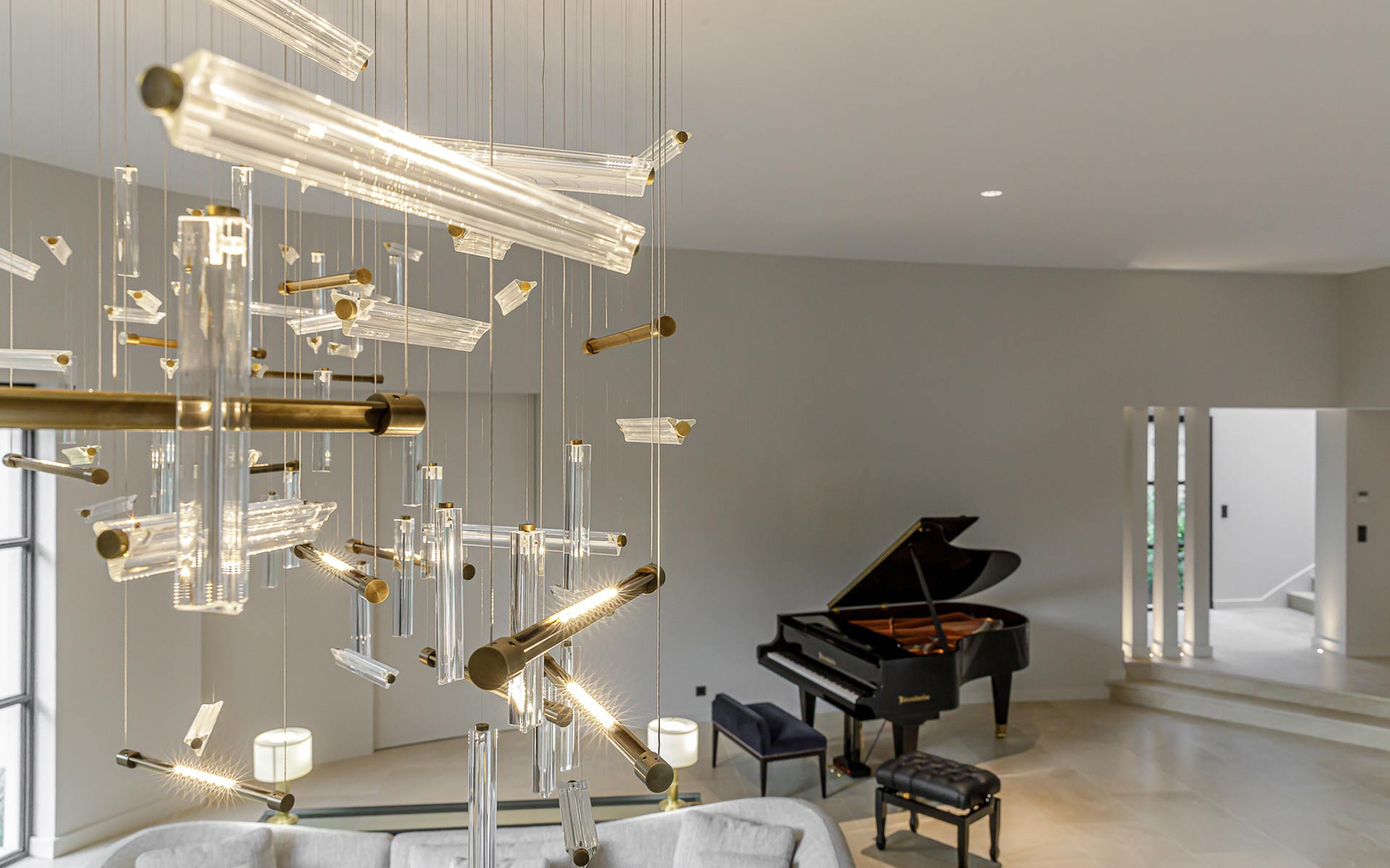 Modern Stylish Lighting Installation Scattered Vertical Horizontal Linear Components Crystal Bronze Luxury Home Salon Grand Piano Nulty Bespoke