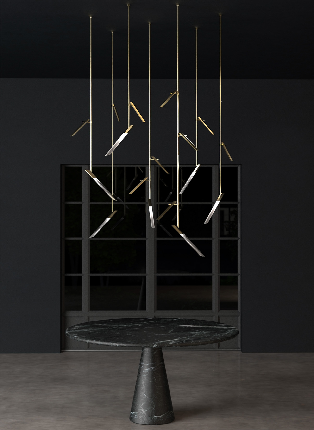 Contemporary Sculptural Lighting Feature Above Table Vertical Rods Angled Hexagonal Components Brass Tones Modern Luxury Living Nulty Bespoke
