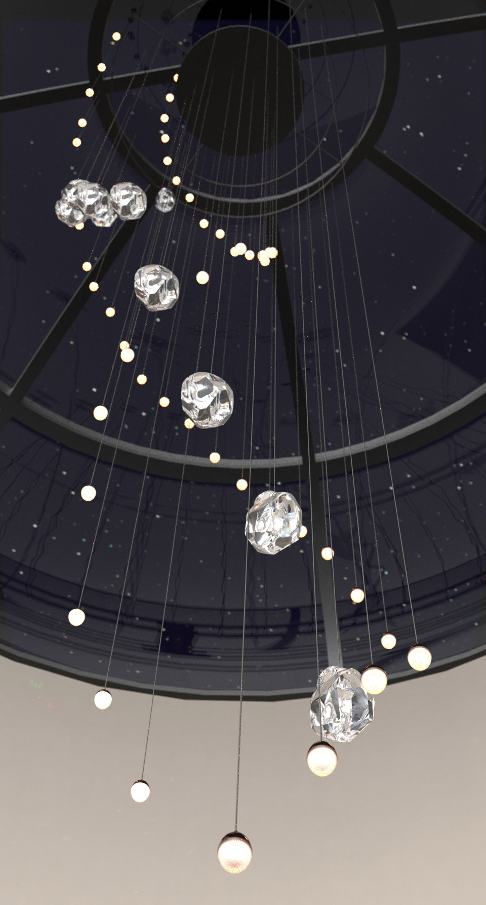 Contemporary Lighting Installation Staircase Handcrafted Components Crystal Clear Rock Formations Oval Luminaires Nulty Bespoke