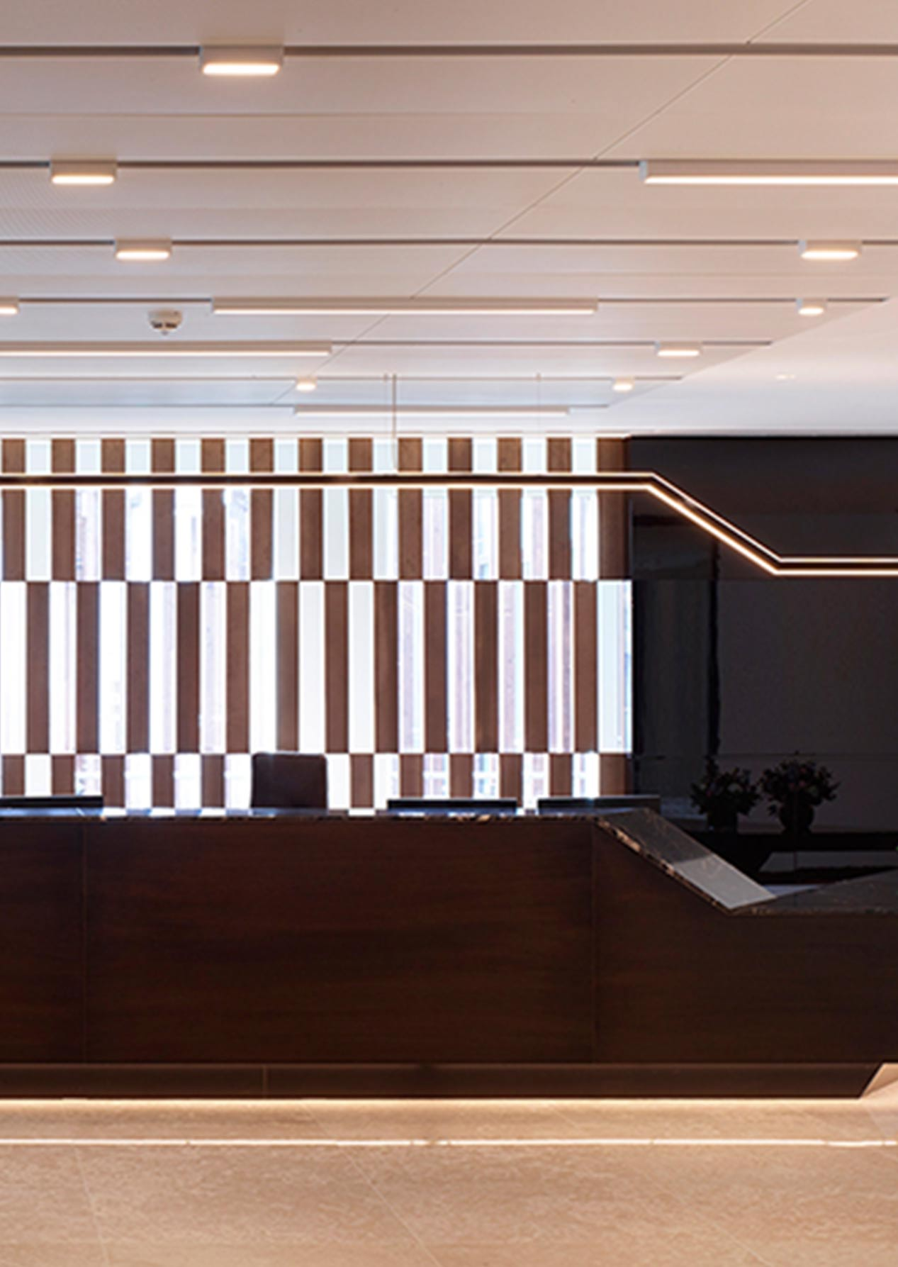 Handcrafted Linear Angled Light Fitting Office Reception Area Nulty Bespoke