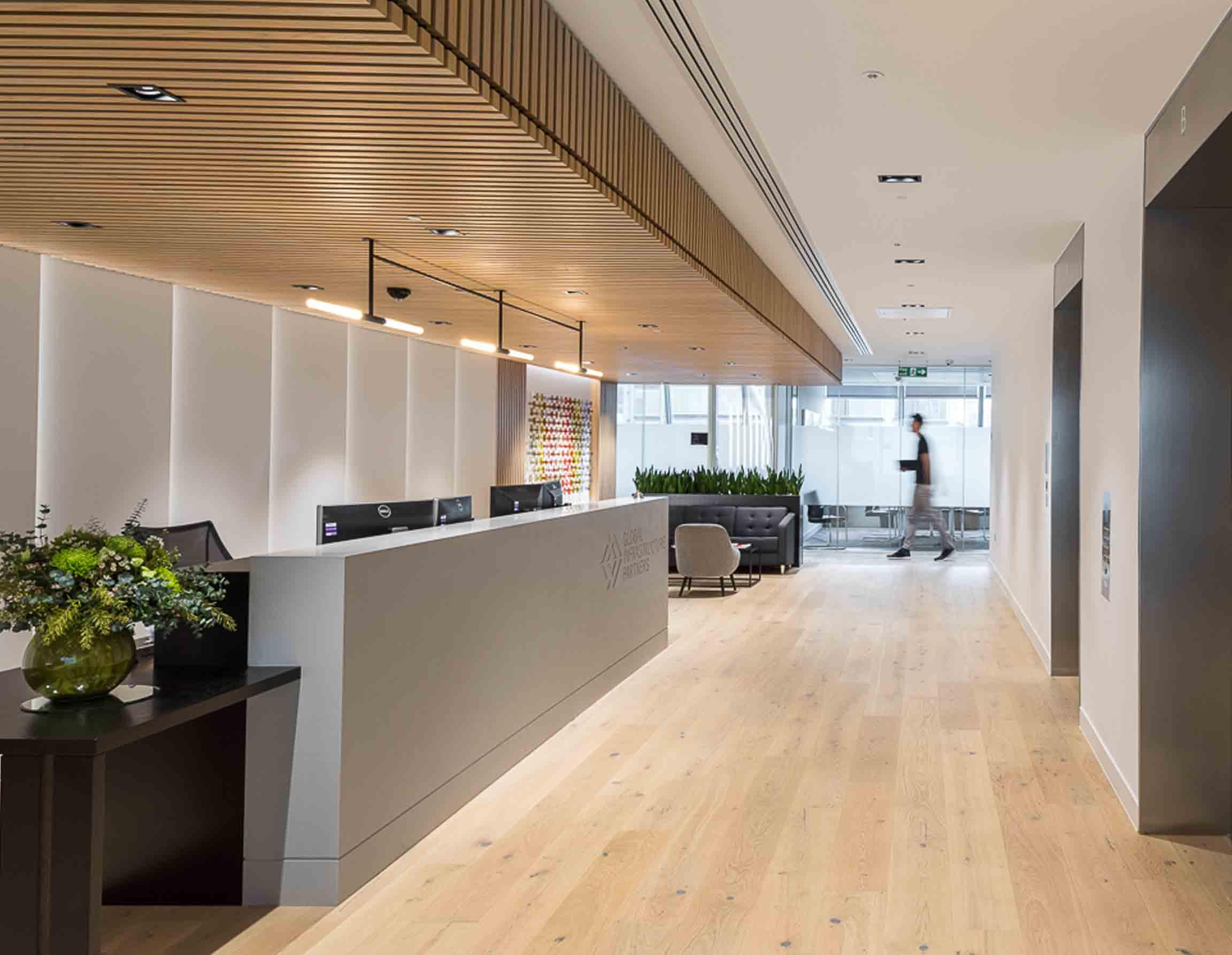 Handcrafted Minimalist Pendant Light Feature Wooden Slat Ceiling Office Reception Desk Design Nulty Bespoke