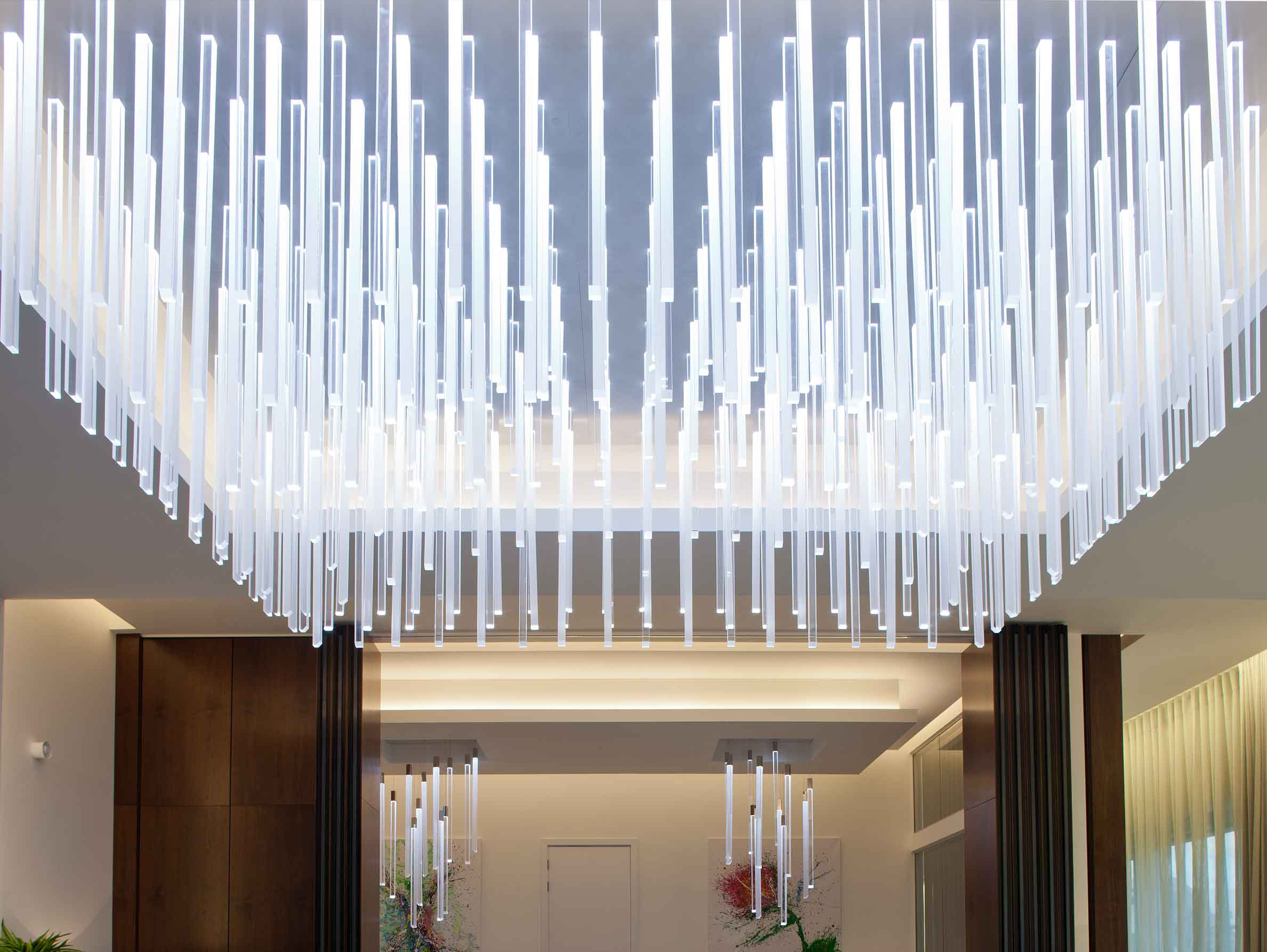 Elegant Chandeliers Multiple Acrylic Rods Private Airline Lounge Nulty Bespoke