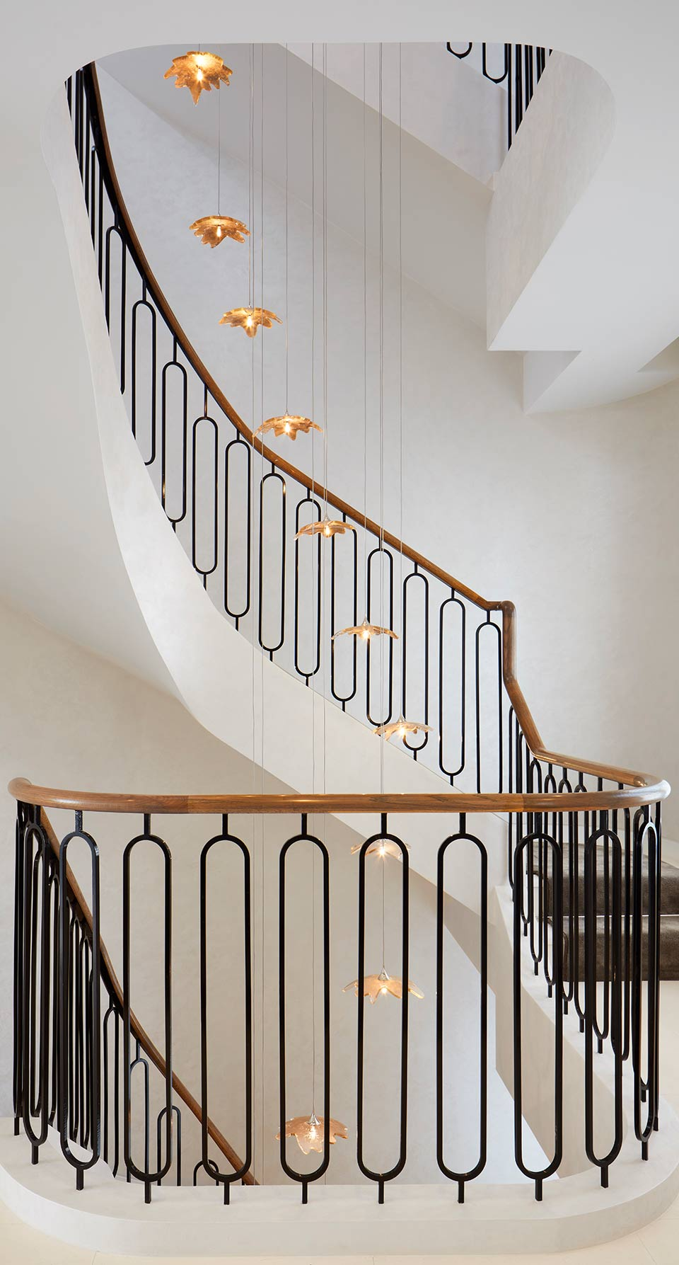 Handcrafted Cascading Chandelier Gold Leaf Petal Shades Luxury Home Nulty Bespoke
