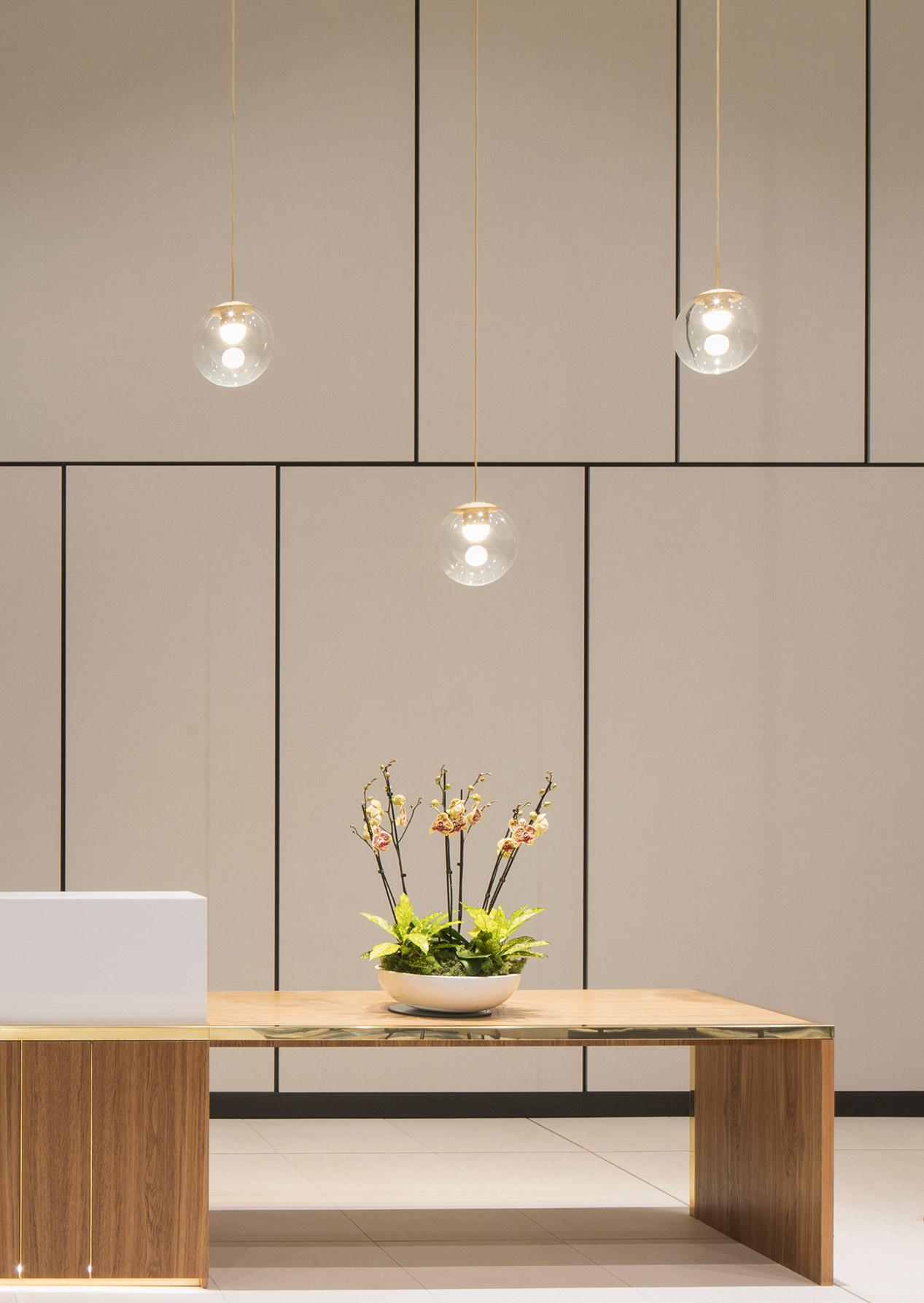 Glass Globe Drop Pendant Lights Minimal Stylish Design Feature Office Reception Desk Designers Nulty Bespoke