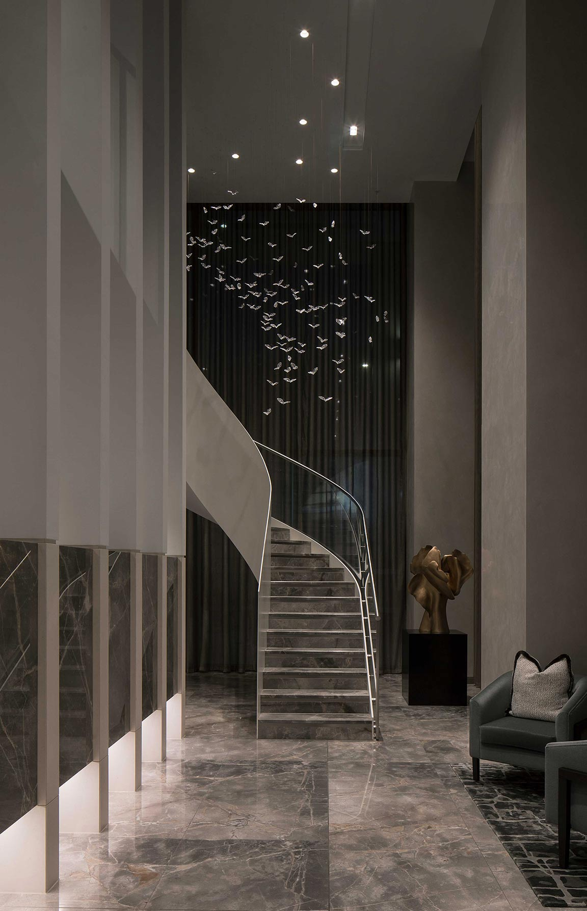 Intricate Glass Birds Flying Suspended Ceiling Sculpture Murmuration Soaring Design Private Residential Lobby Curved Staircase London Nulty Bespoke