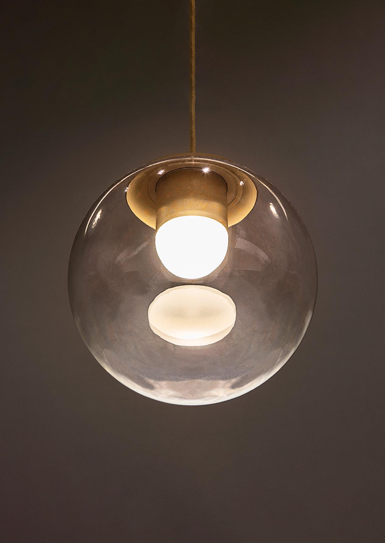 Handblown Clear Glass Globe Drop Pendant Light Brass Components Internal Glowing Dome Designers Nulty Bespoke