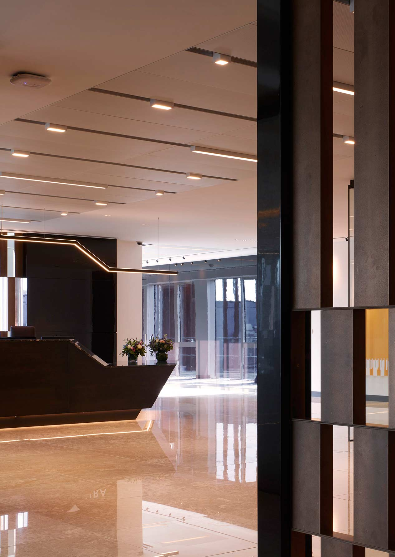 Custom Lighting Piece Sleek Stylish Office Reception Nulty Bespoke