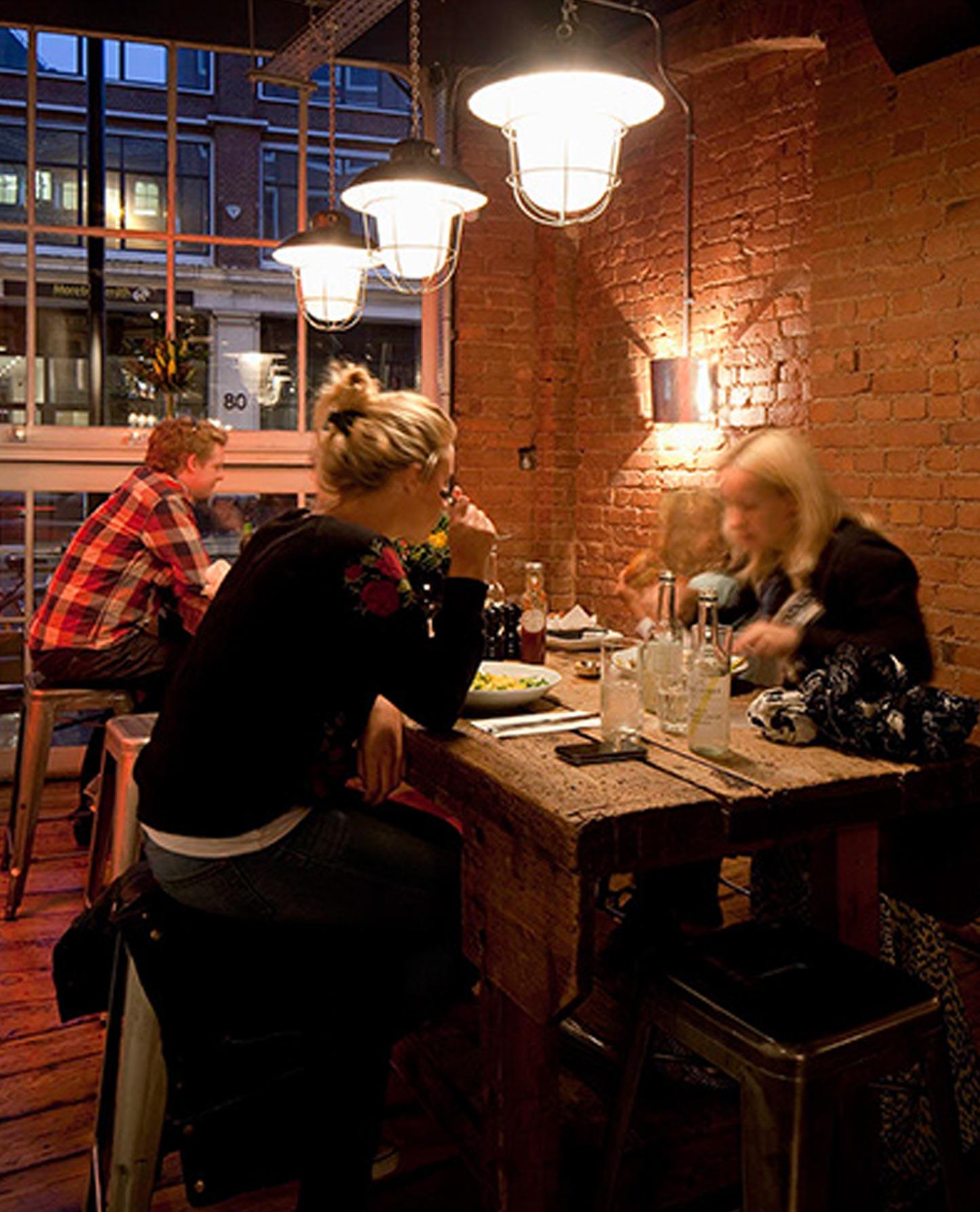 Steel Wall Light Dining Intimate Industrial Interior Brickwork Nulty Bespoke