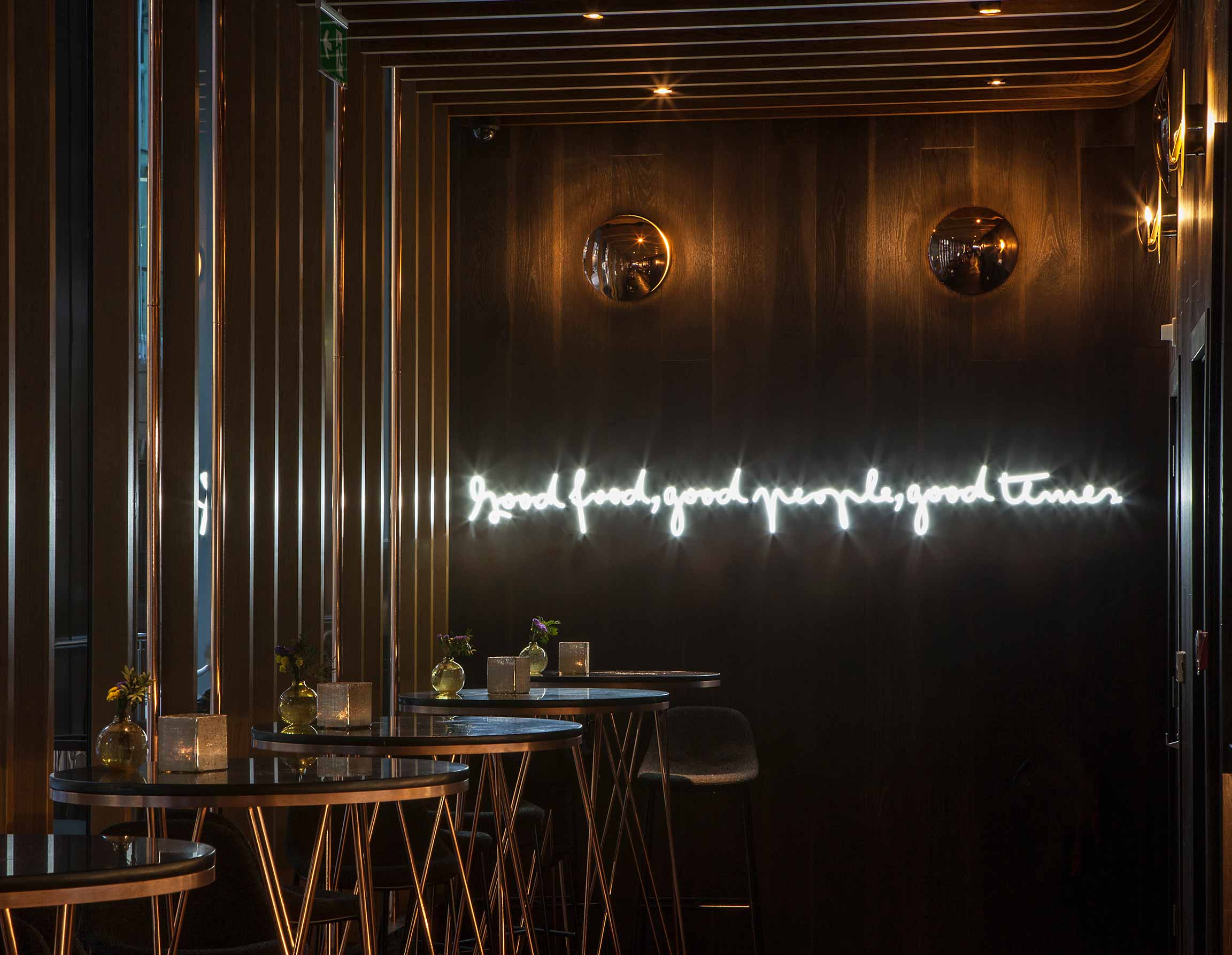 Handmade Disc Luminaires Halo Glow Dark Timber Backdrop Restaurant Nulty Bespoke
