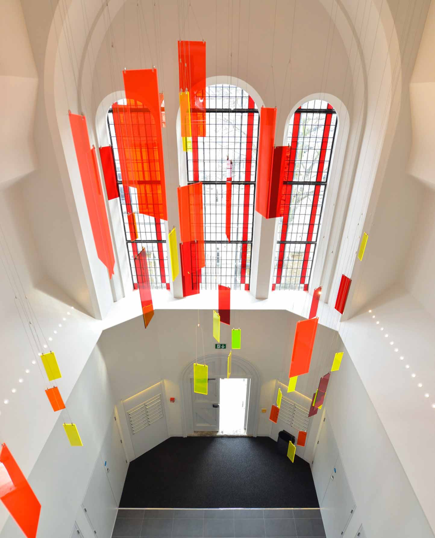 Red Yellow Staggered Perspex Light Art Converted Church Nulty Bespoke
