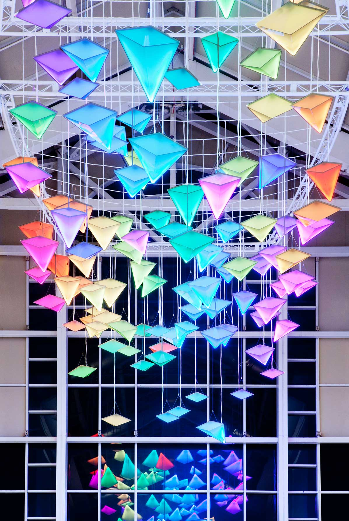 Dynamic Colourful Light Installation Shopping Centre Lofty Atrium Space Nulty Bespoke