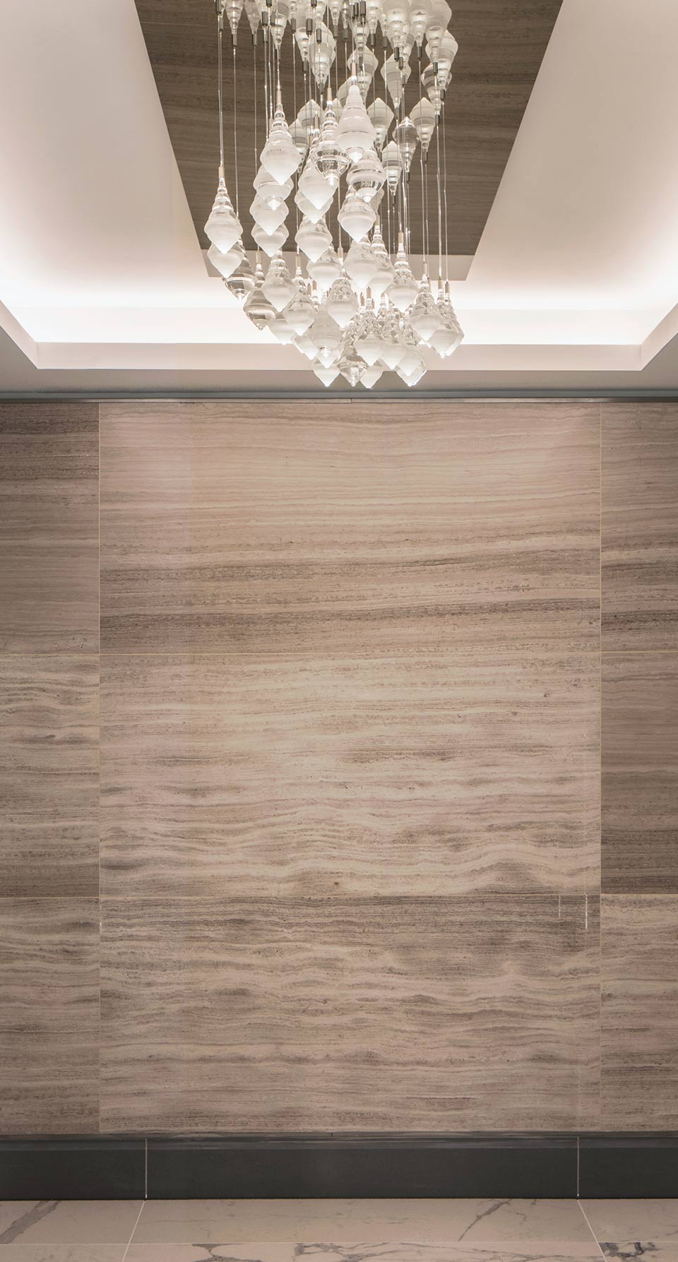 Bespoke Chandelier Luxury Spa Wave Composition Mirrored Rectangular Ceiling Plate Droplet Shaped Elements Southbank Place Spa Design Nulty Bespoke