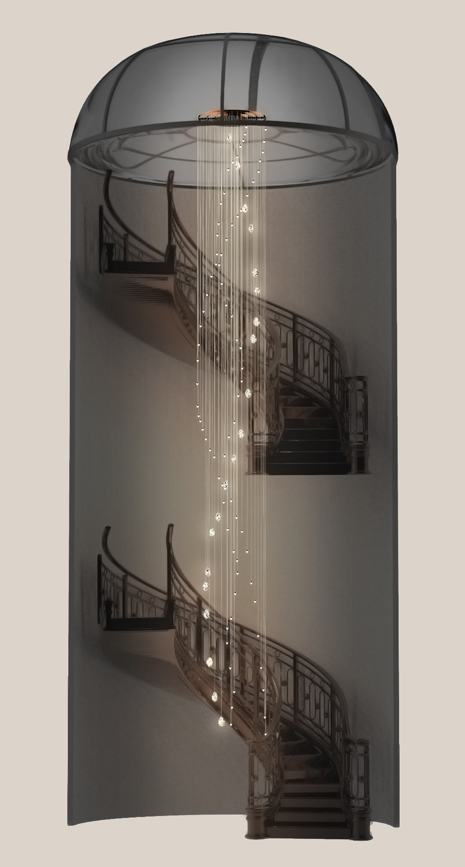 Contemporary Lighting Installation Staircase Handcrafted Components Crystal Clear Rock Formations Twinkling Oval Luminaires Nulty Bespoke