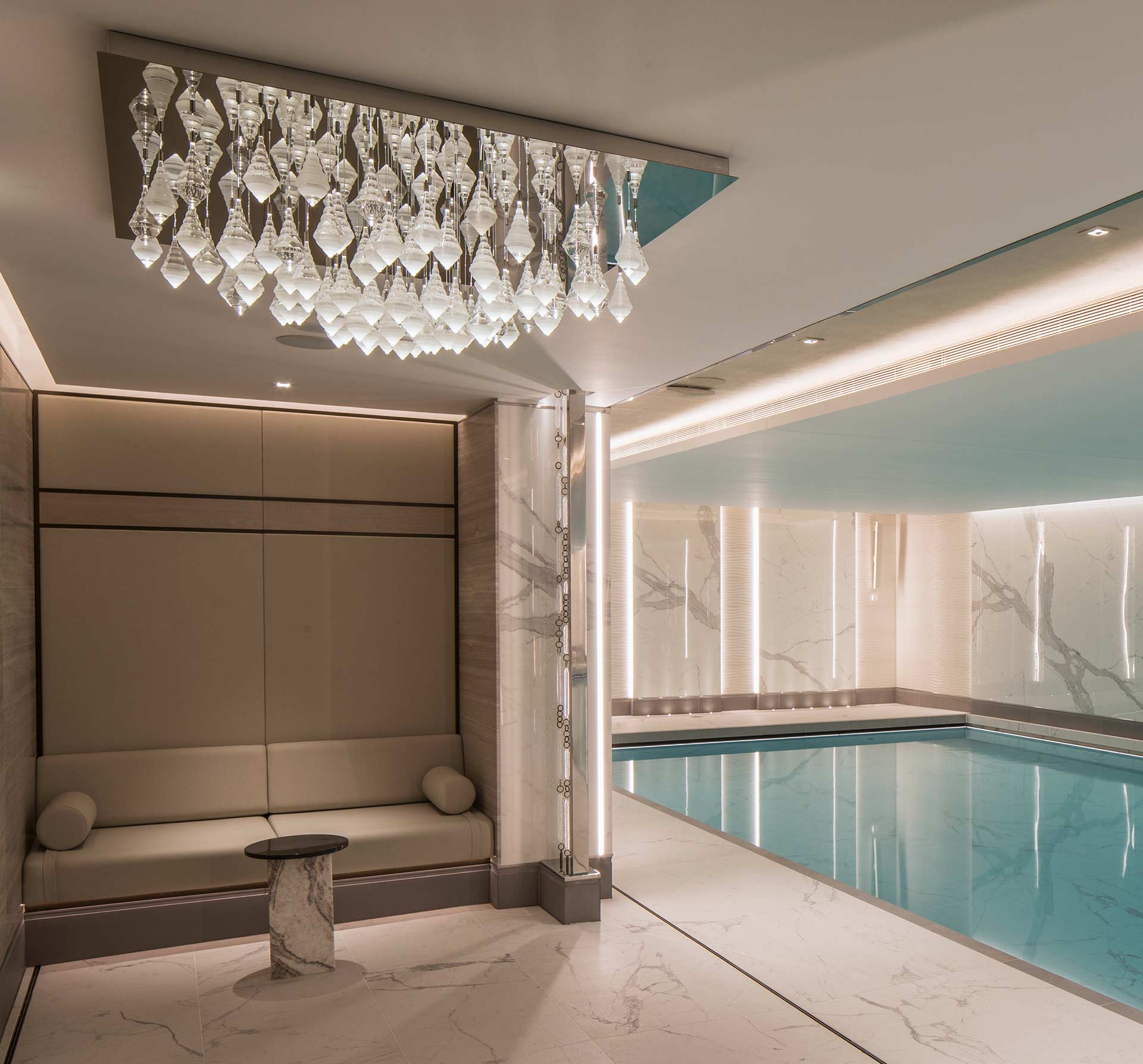 Feature Chandelier Suspended Droplet Design Square Reflective Base Luxury Health Club Swimming Pool London Designers Nulty Bespoke