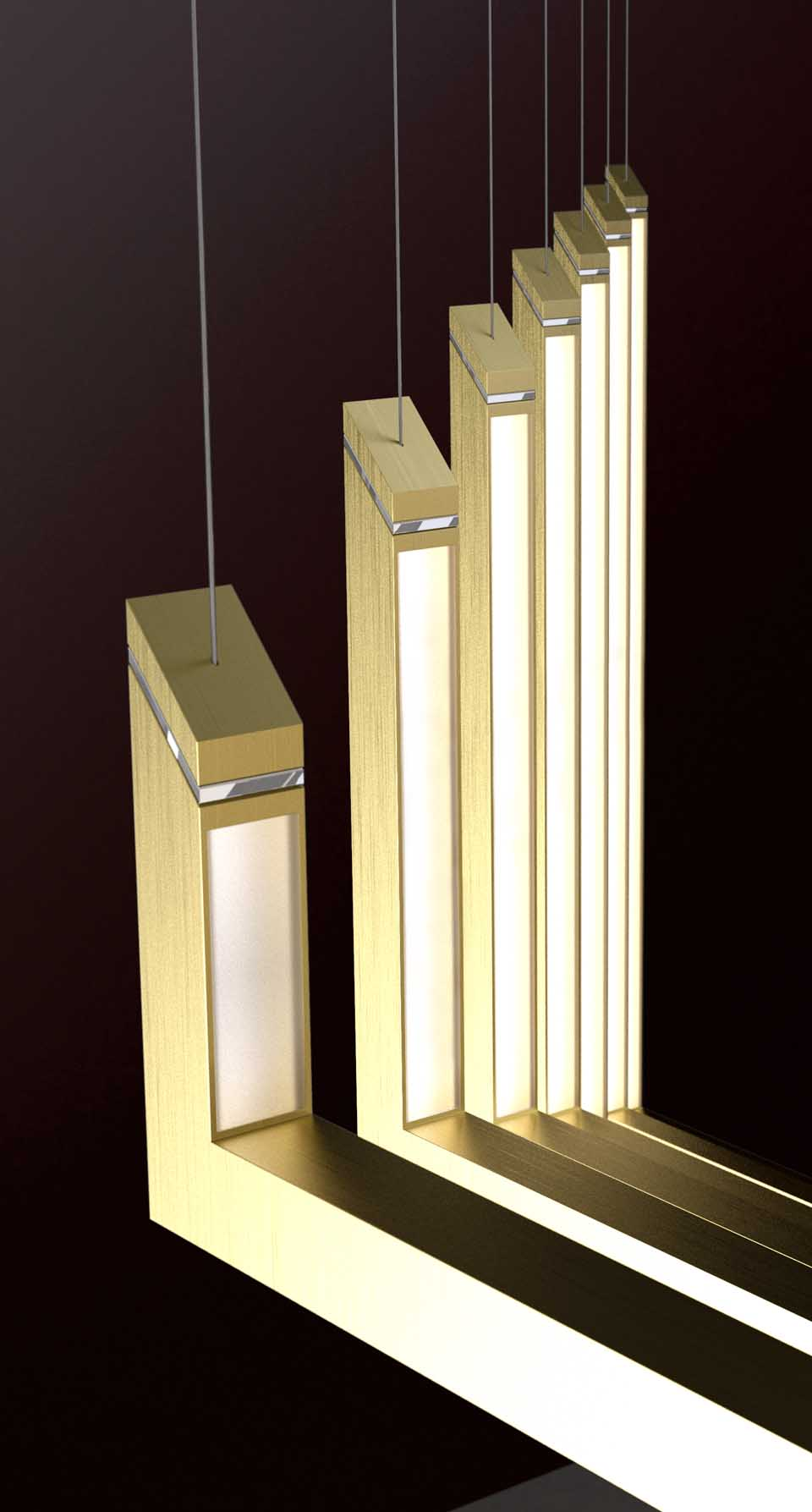 Modern Chandelier Sleek Angled Design Illuminated Internal Vertical Opal Sheet Diffuser Brushed Brass Finish Luxury Lighting Nulty Bespoke