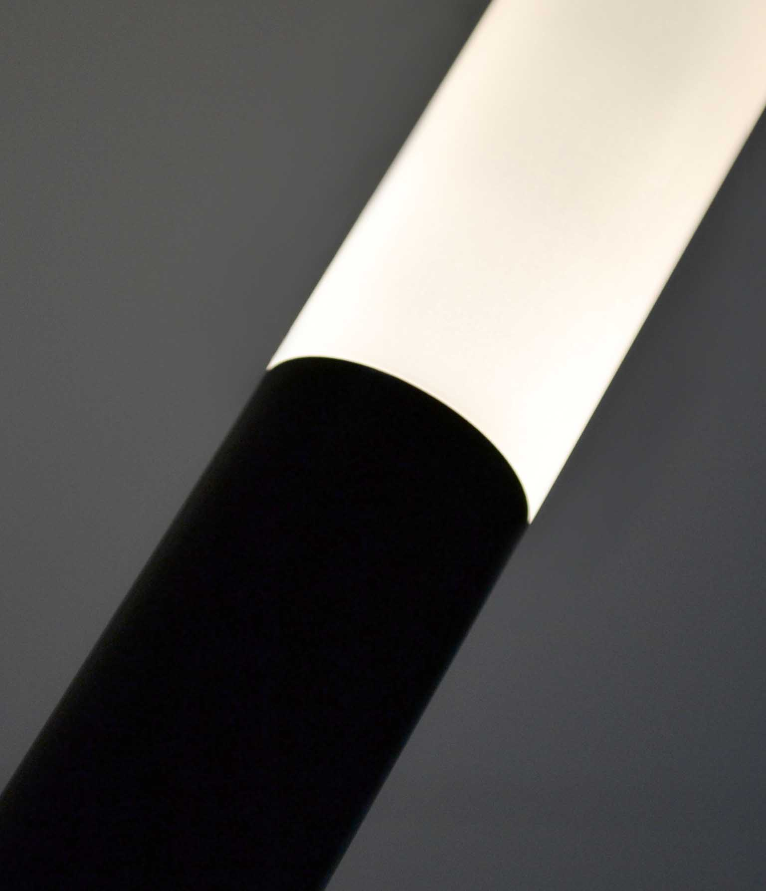 Custom Design Sleek Pendant Light Frosted Acrylic Baton LED Matt Black Component Nulty Bespoke