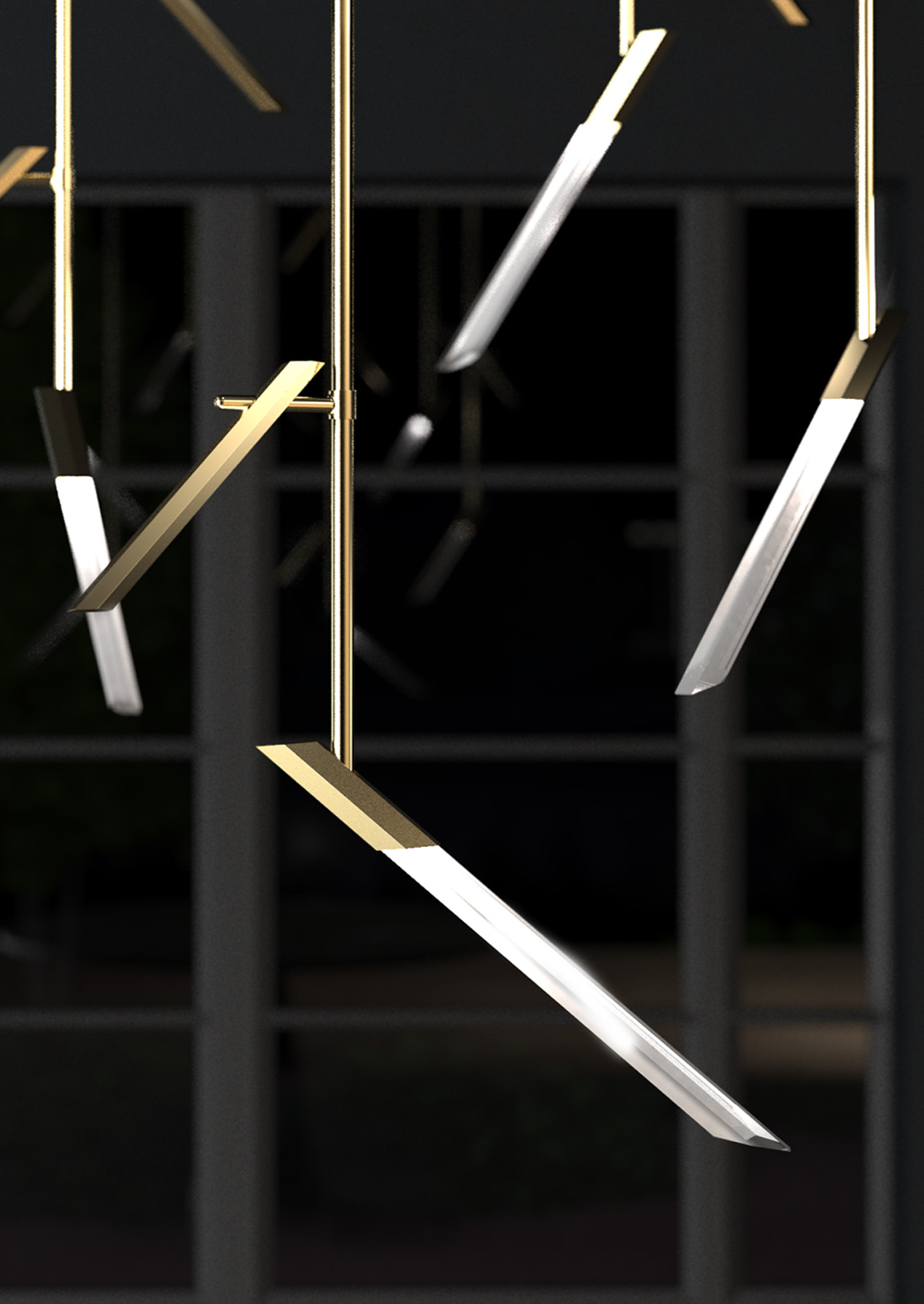Modern Angled Chandelier Brass Framework Hexagonal Diffuser Rotating Components Luxury Lighting Nulty Bespoke