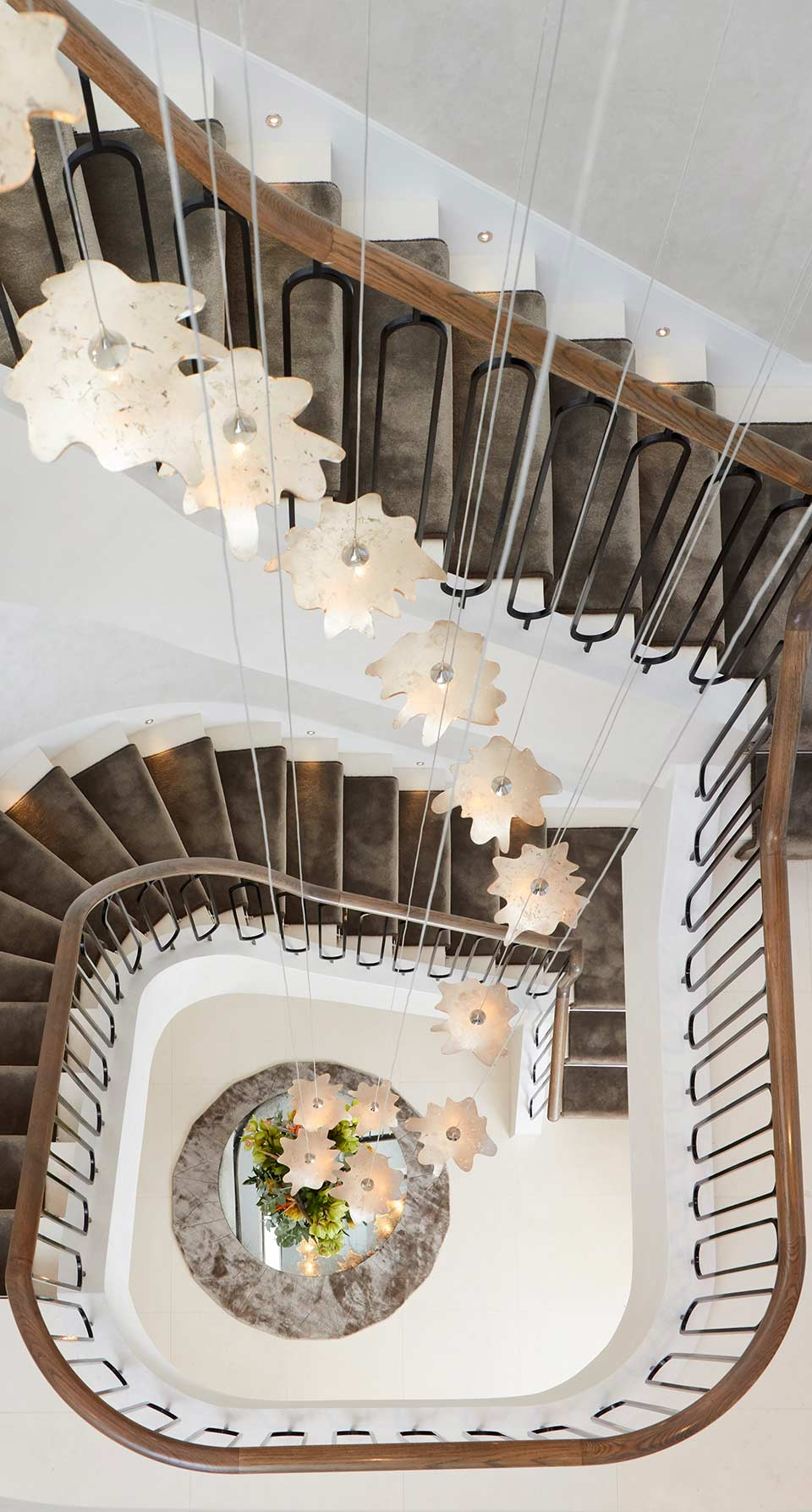 Custom Spiralling Chandelier Luxury Elegant Stairwell Gold Hand Finished Shades Nulty Bespoke
