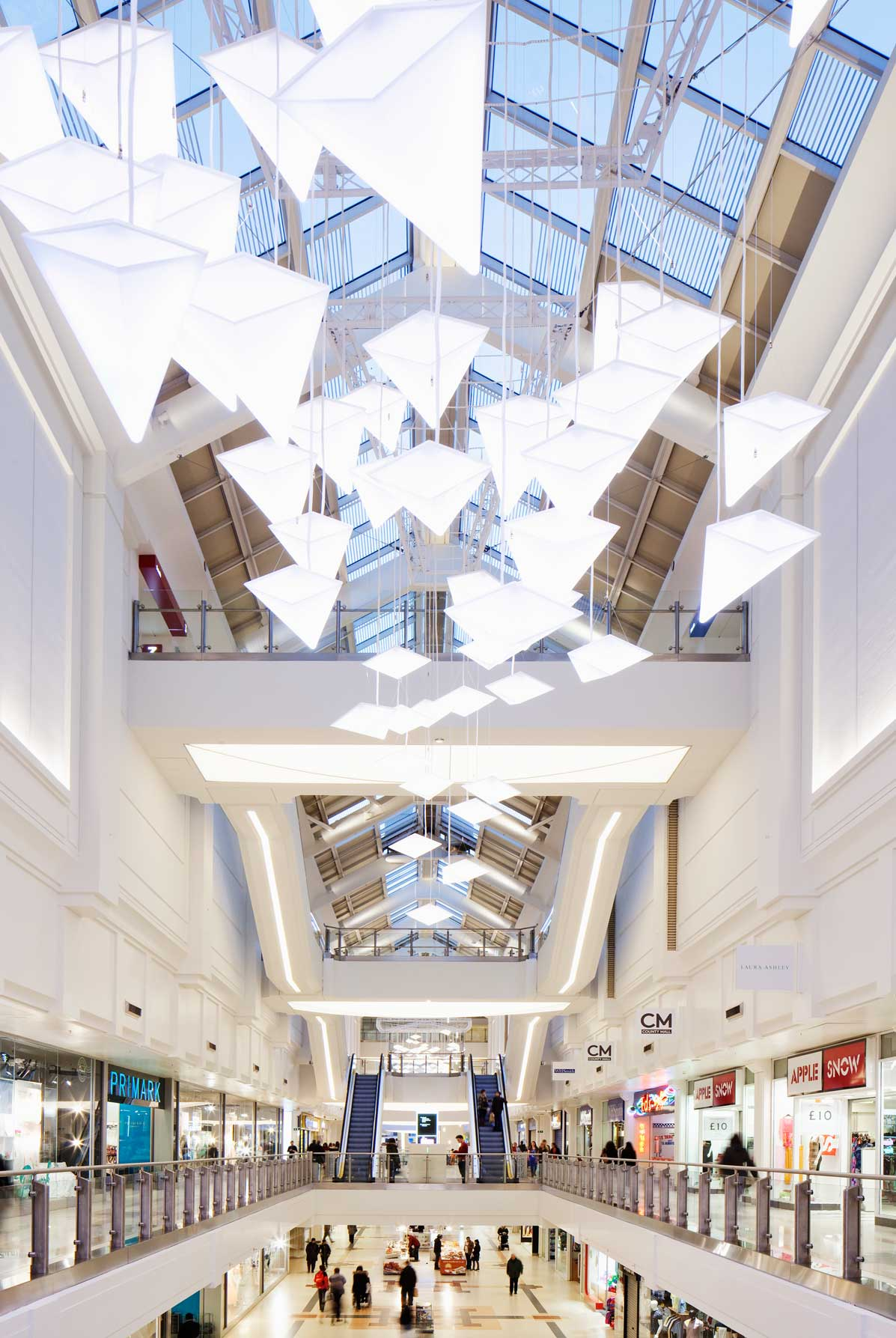 Shopping Mall White Light Art Sculpture Atrium Roof Windows Nulty Bespoke