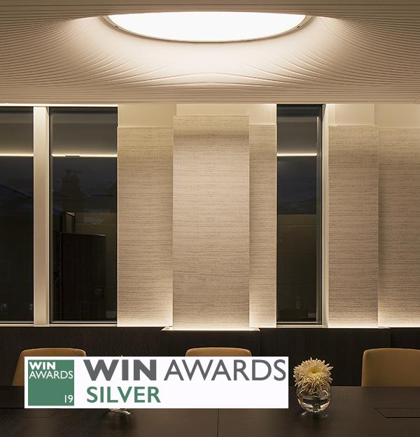 Integrated Custom Oculus Luminaire Sculptured Corian Ceiling Nulty Bespoke WIN Awards 2019 Silver Winner