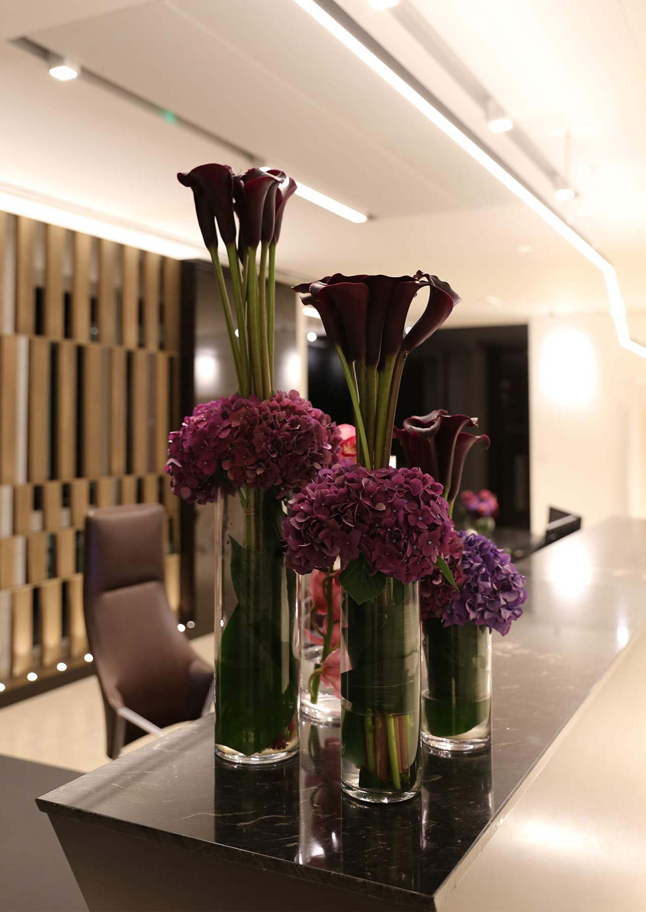 Custom Linear Pendant Reception Desk Flowers Nulty Bespoke
