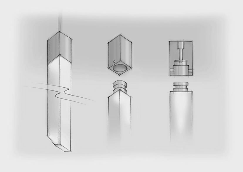 Sketch Square Acrylic Rods LED Chandelier Nulty Bespoke