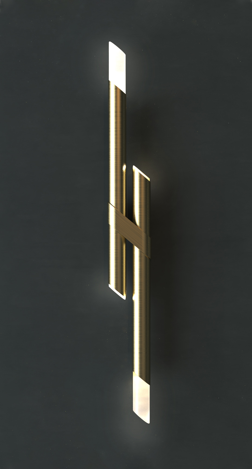 Luxury Bathroom Wall Light Two Slender Brass Rods Asymmetrical Slanted Design Bevelled Edge London Nulty Bespoke