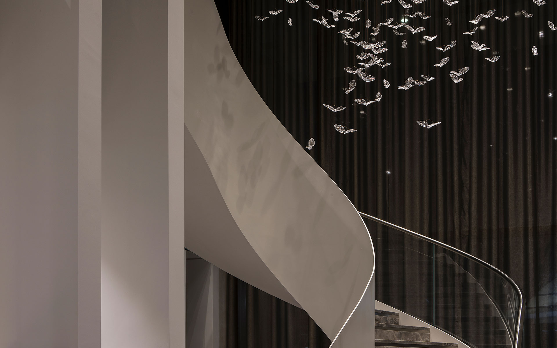 Suspended Glass Birds Stairwell Installation Private Residential Development London Nulty Bespoke