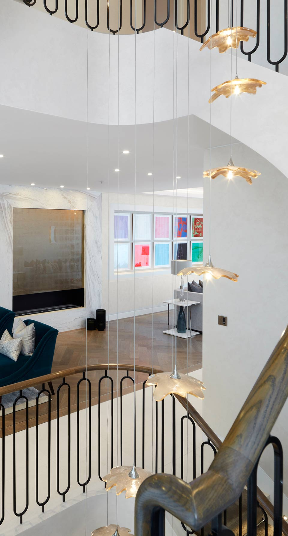 Contemporary Refined Cascading Chandelier House Stairwell Gold Leaf Shades Nulty Bespoke
