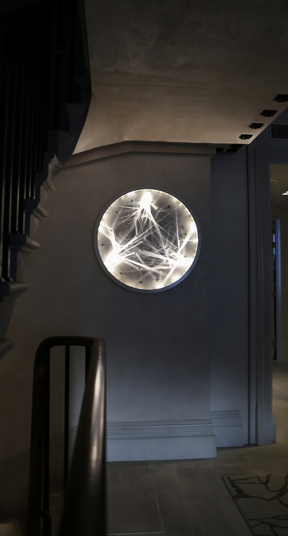 Custom-Made Wall Art Feature Private Residence Round Frame Prisms Light Pattern Nulty Bespoke