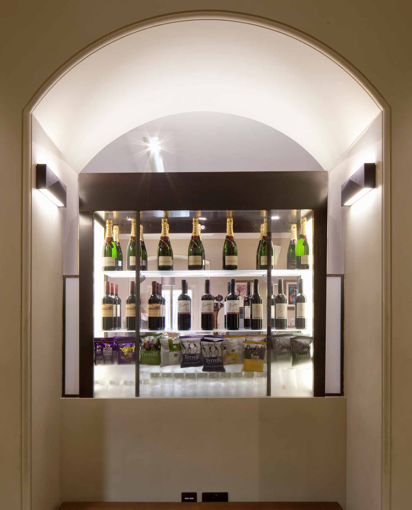 Bronze Wall Lights Arched Space Drinks Display Nulty Bespoke