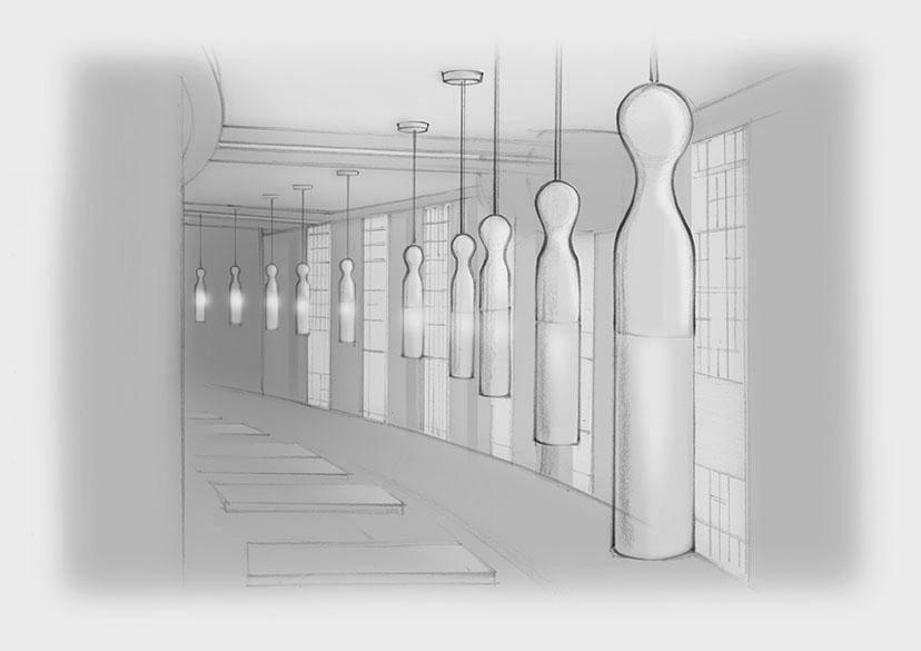 Sketch Tublar Glazed Bone China Pendants Restaurant Nulty Bespoke